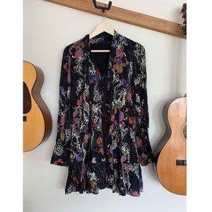 [FreePeople] flower print black dress size small